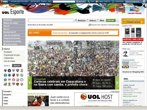 """Manchete 1 do UOL (15h25): """"prefeito chora"""", mas a foto é da comemoração"""