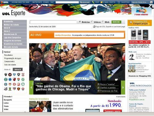 Destaque 2 do UOL: foto de Lula, Orlando e Pelé chorando, com texto neutro