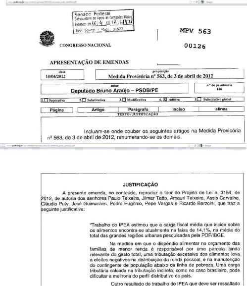 Justificativa da emenda de deputado tucano desmente o site do PSDB