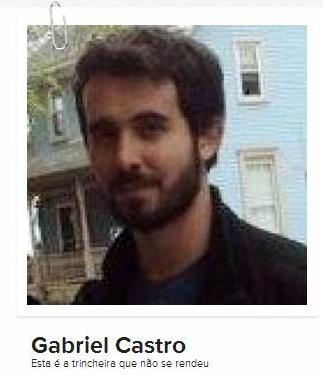 """Perfil de Gabriel Castro no Gravatar: """"Esta é a trincheira que não se rendeu""""."""