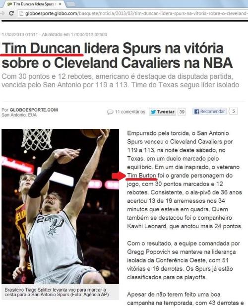 Globo Esporte troca Tim Duncan por Tim Burton