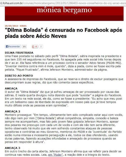 Censura a Dilma Bolada na Mônica Bérgamo