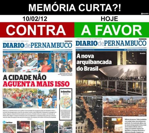 Diário de Pernambuco e os protestos: hipocrisia pura!