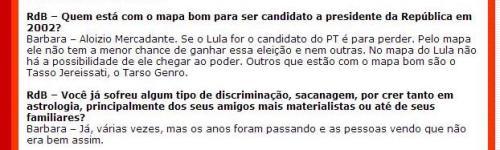 """Barbara Abramo sobre Lula em 2001: """"Se o Lula for o candidato do PT é para perder"""""""