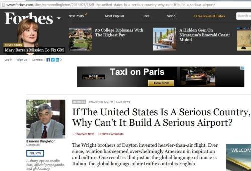 Colunista da Forbes questiona seriedade dos aeroportos dos EUA