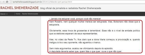 Sheherazade defende Bolsonaro